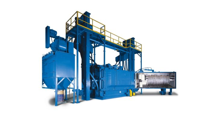 Image is of a wire and coil wheel blast system. It is a large blue machine photographed on a white background.