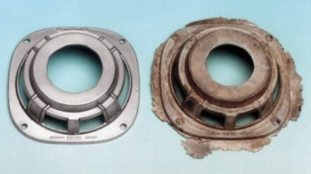 Image is a before and after shot showing the difference between an unfinished part and a deflashed part.