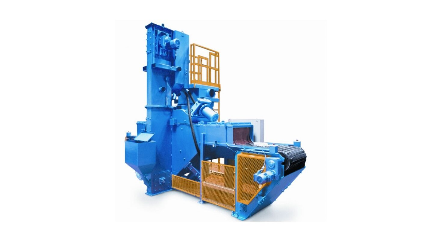 Image is of a blue and yellow piece of wheel blast equipment photographed on a white background.